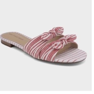 Who What Wear Florence Striped Bow Slide Sandals 8